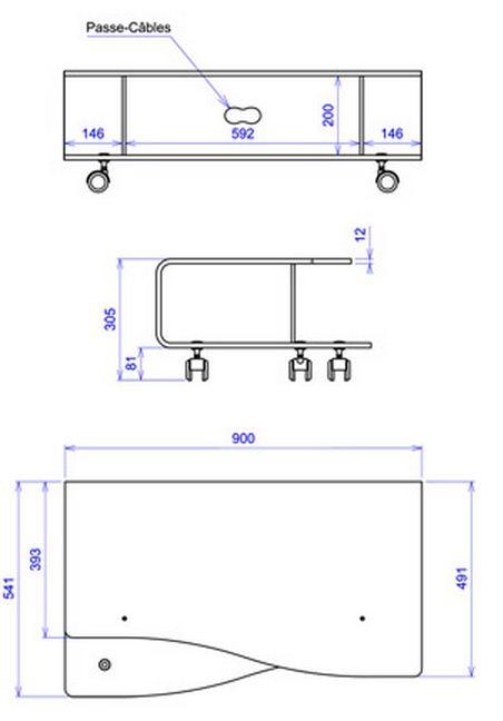 Meuble tv bas diva david lange decodirect for Dimension meuble tv