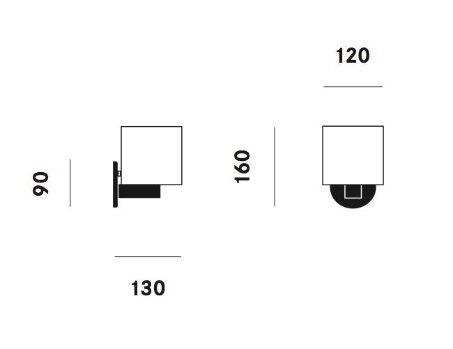 Dimension applique CPL Mini W3 Prandina