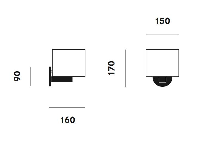 Dimension applique CPL Mini W5 Prandina