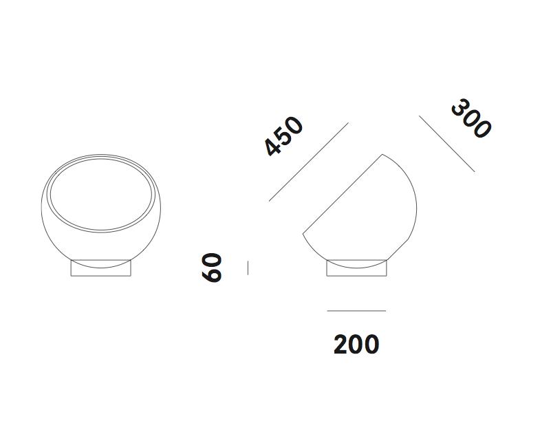 Dimension lampadaire Biluna F5 Prandina