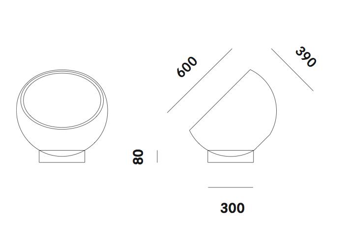Dimension lampadaire Biluna F7 Prandina