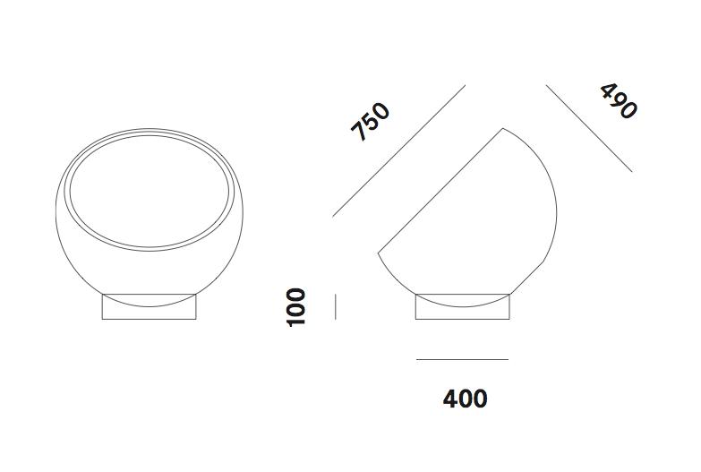 Dimension lampadaire Biluna F9 Prandina