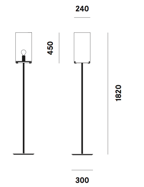 Dimension lampadaire CPL F1 Prandina
