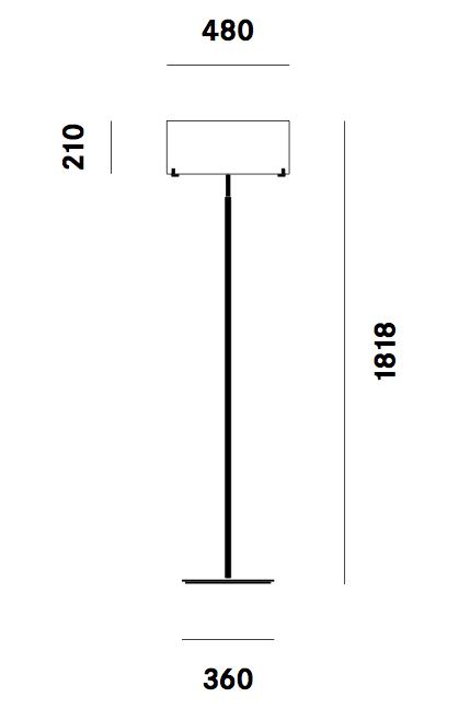Dimension lampadaire CPL F7 Prandina
