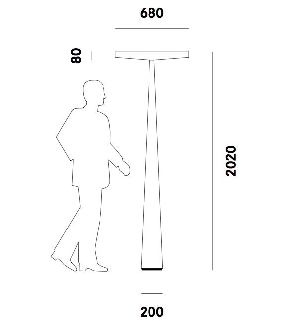 Dimension lampadaire Equilibre F3 Prandina
