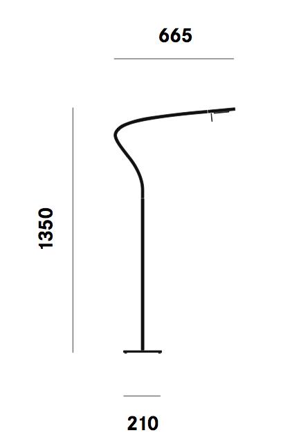 Dimension lampadaire Paraph F3 Prandina