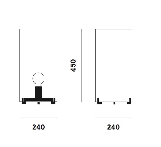 Dimension lampe de table CPL T3 Prandina