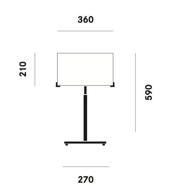 Dimension lampe de table CPL T31 Prandina