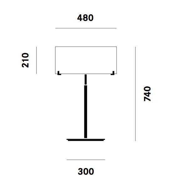 Dimension lampe de table CPL T7 Prandina