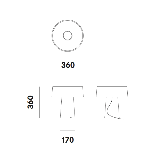 Dimension lampe de table Glam T1 Prandina