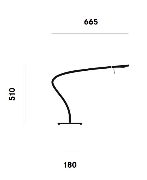 Dimension lampe de table Paraph T3 Prandina