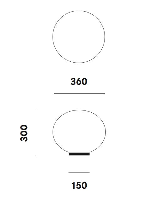 Dimension lampe de table Zerodieci T5 Prandina