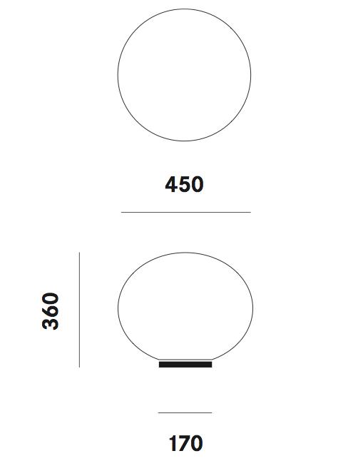 Dimension lampe de table Zerodieci T7 Prandina