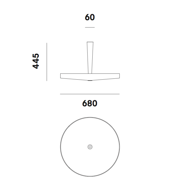 Dimension plafonnier Equilibre C33 Prandina