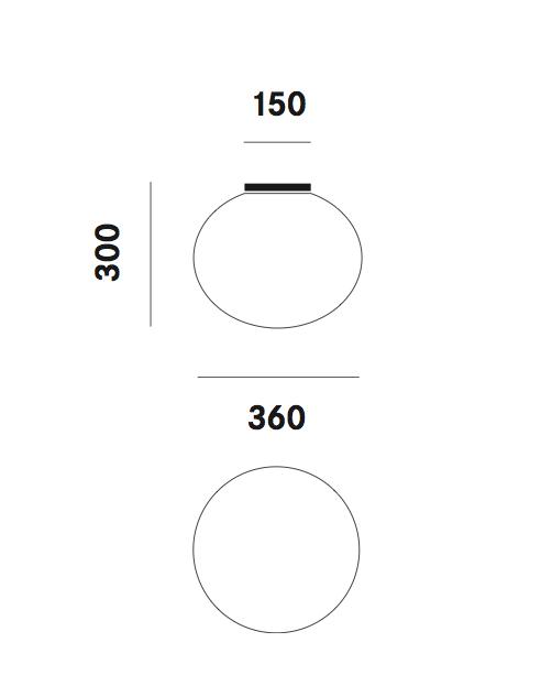 Dimension plafonnier Zerodieci C5 Prandina