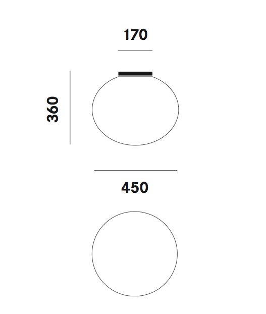 Dimension plafonnier Zerodieci C7 Prandina