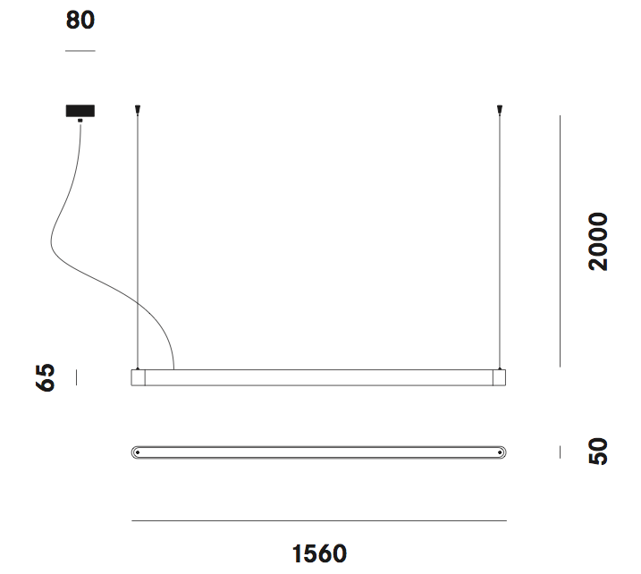 Dimension suspension Teca S7 Prandina